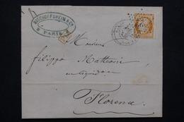 FRANCE - Lettre De Paris Pour Florence En 1872, Affranchissement Cérès 40cts , Oblitération étoile 22 - L 22973 - Marcophilie (Lettres)