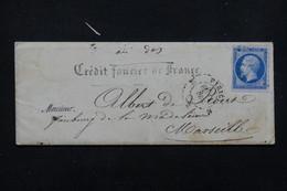 FRANCE - Enveloppe Commerciale Du Crédit Foncier De France De Paris Pour Marseille En 1857 - L 22979 - Marcophilie (Lettres)