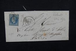 FRANCE - Cachet Rouge Des Rebuts Au Verso D' Une Enveloppe Pour Paris En 1869 - L 22980 - Marcophilie (Lettres)