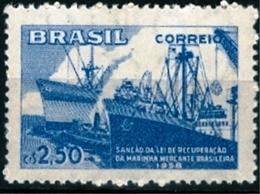BRAZIL # 877   -  BRAZILIAN  MERCHANT  FLEET - CARGO SHIPS  -  MINT  - 1958 - Brazil