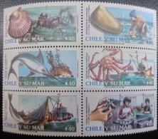 W) 1990 CHILE, SERIES OF 6 SEALS, VIEIRA, ALMEJA, PEZ SWORD, CRAB, FISH - Chile