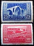 1922 Albanie Yt 122, 123 .Berati //  Bridge At Vezirit .  Neuf Trace Charnière - Albanie
