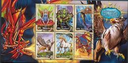2011 Australia Mythical Creatures Minisheet Set MNH Dragon Unicorn - Blocks & Sheetlets