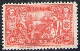 BRAZIL # 190  -  CENTENARY  OF THE OPENING OF PORTS   -  MH  - 1908 - Unused Stamps