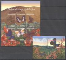 I230 TURKMENISTAN FAUNA BUTTERFLIES KEBELEKLERI 1KB+1BL MNH - Schmetterlinge