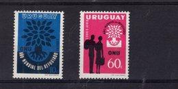 718477225 URUGUAY 1960 SCOTT 657 AND C207 WORLD REFUGEE YEAR - Uruguay