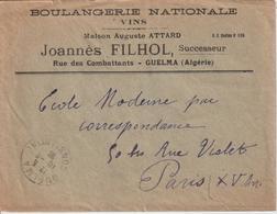 Lettre à Entete Boulangerie Nationale D'Algérie Pour La France - Lettres & Documents