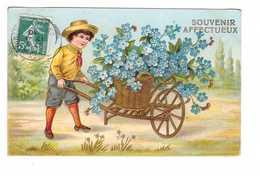 Carte Gaufrée Relief Cpa Fantaisie Enfant Brouette Fleur Bleuet Fleurs Bleuets Cachet 1910 Souvenir Affectueux - Fantaisies
