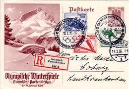 DR 1936, 3 Olympia Marken Auf 15 Pf. Ganzsache Per Einschreiben V. Garmisch  - Olympische Spiele