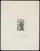 CAMEROUN Epreuves  287 Epreuve D'artiste En Noir Sans Faciale Aquarellée, Signée Decaris. Chasseur à L'arc. - Cameroun (1915-1959)