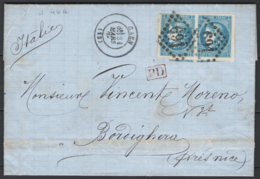 Francia 1871 20c. Pair  Unif.46a Da Gaen To Bordighera 31/03/71 VF/F - Storia Postale
