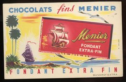 BUVARD:  CHOCOLATS FINS MENIER FONDANT EXTRA-FIN - FORMAT  Env. 12,5X21 Cm - Cocoa & Chocolat
