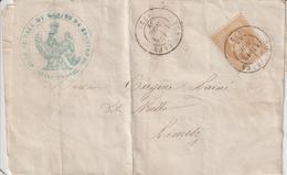 Lettre 1869 De Bonnières Pour Limetz Cachet à Date Bonnières Seine Et Oise. Convocation Juge De Paix De Bonnières - Marcophilie (Lettres)