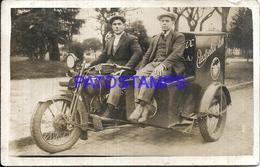 107541 REAL PHOTO MOTORCYCLE MOTO & TYPE SIDECAR ELECTRELUX S.A POSTAL POSTCARD - Motos