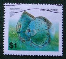 $1 Fish Vis Fisch Poisson Blue Turquoise 2001 2002 Mi 1178 YT 1122 Used Gebruikt Oblitere SINGAPORE SINGAPUR - Singapur (1959-...)