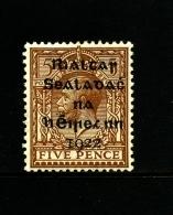 IRELAND/EIRE - 1922  5 D.  OVERPRINTED DOLLARD  MINT  SG 7 - 1922 Governo Provvisorio