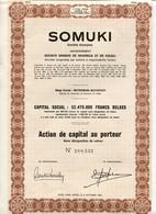 Congo Belge SOMUKI S.A. Ancien. Société Minière De Muhinga Et De Kigali Watermael-Boitsfort Action De Capital - Afrika