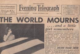 John Kennedy Assassination Funeral Northampton Telegraph Original Newspaper - Histoire
