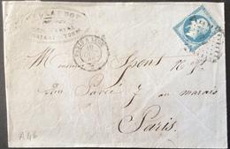 A46 Ambulant PL Paris à Lyon «B » 19/10/1865 «Billaudot à Tonnerre  » T22 - Marcophilie (Lettres)