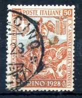 1928 REGNO N.233 USATO - 1900-44 Vittorio Emanuele III
