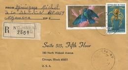 Tchad 1976 Ndjamena Giant Black Camel Spider Galeodes Arabicus Bird Lamprotornis Chalybaeus Hartlaubi Registered Cover - Tsjaad (1960-...)
