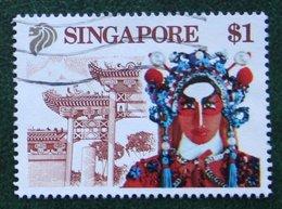 $1 Tourism Maske Mask Theatre Dance 1990 Mi 611 Used Gebruikt Oblitere SINGAPORE SINGAPUR - Singapur (1959-...)