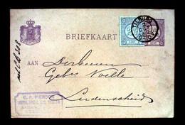 Niederlande 1882,Briefkart M.Zusatzfrankatur V.Tilburg N.Lüdenscheid,div.Stempel.(698') - Periode 1852-1890 (Willem III)