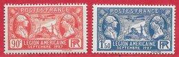 France N°244 & 245 Légion Américaine 90c Rouge & 1F50 Outremer 1927 ** - Neufs