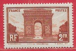 France N°258 Arc De Triomphe 2F Brun-rouge 1929-31 * - Neufs