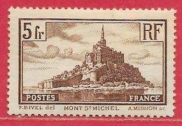 France N°260 5F Mont-Saint-Michel Brun (type I) 1929-31 * - Neufs