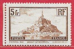 France N°260a 5F Mont-Saint-Michel Brun (type I) 1929-31 * - France