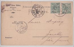 EBINGEN DANIEL GROZ SÖHNE WURTTEMBERG POSTKARTE 15.09.1894 PAR DIJON GRENOBLE HERBE ABSINTHE PORTIQUE GENEPY DES ALPES - Wurttemberg