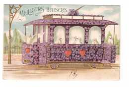 Carte Gaufrée Relief Cpa Fantaisie Tram Tramway Fleuri Fleur Violette Fleurs Violettes Colombe Colombes 1906 - Fantaisies