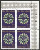 Norfolk Island - 1971 Christmas Corner Plate Block MNH ** - Norfolk Island