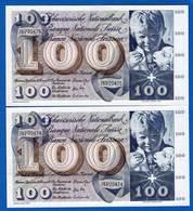 Suisse  2  Billets  De  100  Fr  Suite   Neuf  Du  10/2/1971 - Suisse