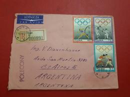 La Pologne Enveloppe Circulé En Argentine Avec Timbres Des Jeux Olympiques 1969 - 1944-.... República