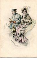 Carte Illustrée. Couple Dans Une Voiture - Couples