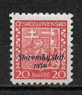 Slovakia 1939, 20h Overprinted Scott # 4,VF Mint Hinged OG (RN-6) - Slovakia