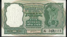 INDIA P35b 5 RUPEES (1957) LETTER A Signature 74   UNC. 2 Usual P.h. - India