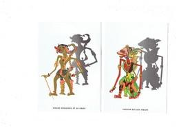 Lot De 2 Cpm Publicité MARIONNETTE DE BALI THÉÂTRE D'OMBRES Figure Princière ROI Singe Sugriva - Ombre Silhouette - Cirque