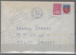 Automation Courrier Avec Tirets Jaunes Fluo - Enveloppe 1976 De Clermont Ferrand  63 Pour Groslay 95  Avec Indexation - Marcophilie (Lettres)