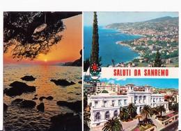 CARTOLINA SALUTI DA SANREMO - LIGURIA - TRAMONTO  3 VEDUTE - 1975 - Saluti Da.../ Gruss Aus...