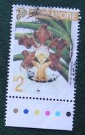$2 Flower Fleur Blumen Orchid 1993 Mi 696 Used Gebruikt Oblitere SINGAPORE SINGAPUR - Singapur (1959-...)
