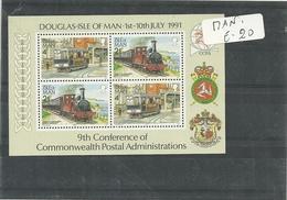 Man  Foglietto  1991  Treni - Isola Di Man