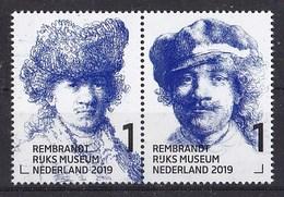 Nederland - 15 Februari 2019 - Rembrandt In Het Rijksmuseum - Zelfportret Met Bontmuts/pet - Ca 1630/1634 - MNH - Paar - Period 2013-... (Willem-Alexander)