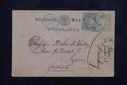 """FRANCE / ALLEMAGNE - Marque D 'entrée """" Allemagne Pag Paris """" En Bleu En 1878 Sur Carte De Bamberg Pour Lyon - L 23017 - Postmark Collection (Covers)"""