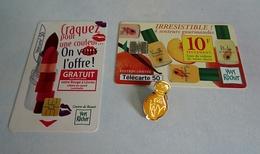 Deux Télécartes 50 Unités Et Un Pin's CLEA  D'Yves ROCHER - Parfums