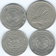 Singapore - 50 Cents - 1981 (KM5) 1985 (KM53.1) 1991 (KM53.2) & 1993 (KM102) - Singapour