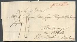 LAC De BRUSSEL (griffe Rouge) Le 10 Juin 1828 Au Baron De Blochausen à Birtrange Par Diekirch (GD De Luxembourg) (Docume - 1815-1830 (Dutch Period)