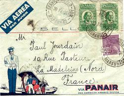 1934- Enveloppe Illustrée PANAIR  Affr. à 4700 Reis De Maranhao  Pour La France - Poste Aérienne (Compagnies Privées)